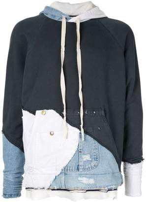 Greg Lauren colour block jersey hoodie