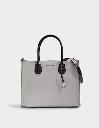 MICHAEL Michael Kors Mercer Large Convertible Tote Bag in Pearl Grey, Optic White and Black Grained Leather