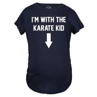 Crazy Dog T-shirts Crazy Dog Tshirts Women's I'm With The Karate Kid Maternity T Shirt Funny Pregnancy Tee S