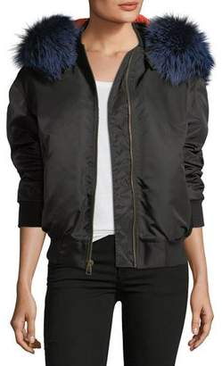 Mr & Mrs Italy Mr&Mrs Italy Zip-Front Bomber Jacket with Fox-Fur Trim