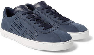 Tod's Perforated Nubuck And Leather Sneakers