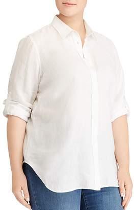 Lauren Ralph Lauren Plus Linen Button-Down Top
