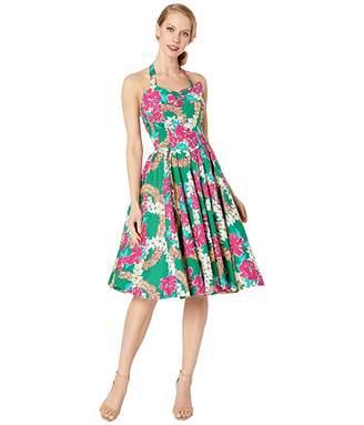 Unique Vintage x Alfred Shaheen Mala Pua Hibiscus Lei Print Swing Dress