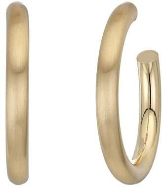 Kenneth Jay Lane Satin Gold Tube Hoop Pierced Earrings