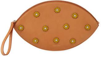Mansur Gavriel Floral-Embellished Oval Clutch Bag