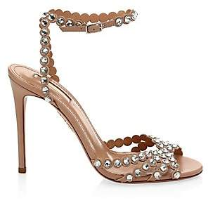 Aquazzura Women's Tequila Crystal-Embellished Leather Sandals