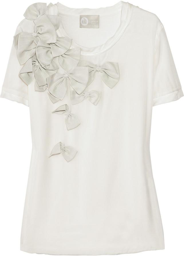 Lanvin Bow-embellished silk T-shirt