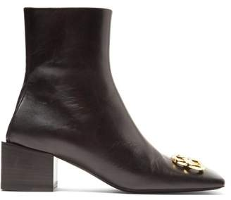 Balenciaga Double Square Logo Embellished Leather Ankle Boots - Womens - Black
