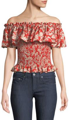 Rebecca Taylor Off-The-Shoulder Cherry-Blossom Silk Top