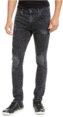 GUESS Men Ripped Leopard Skinny Jeans