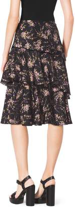 Michael Kors Elderflower-Print Tiered Ruffle Silk-Twill Skirt