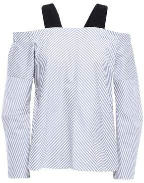 Maje Cold-shoulder Layered Cotton-poplin Top