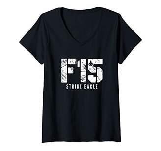 Womens F-15 Strike Eagle Fighter jet V-Neck T-Shirt