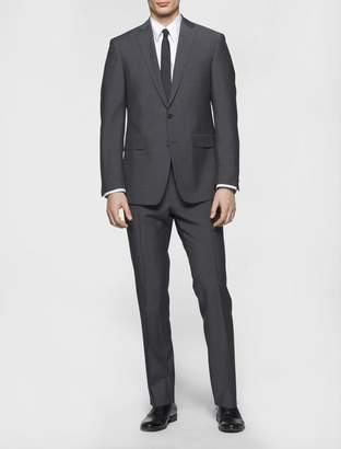 Calvin Klein x-fit ultra slim fit charcoal striped suit