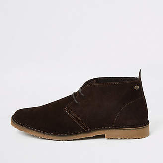 River Island Dark brown suede lace-up desert boots