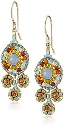 Miguel Ases Neutral and Swarovski Triple Circle Small Drop Earrings