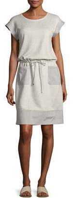 Lafayette 148 New York Scoop-Neck Drawstring-Waist Knit Dress, Pebble Melange