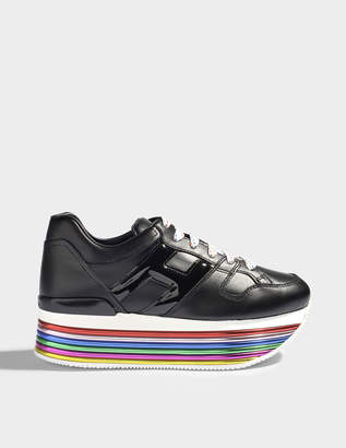 Hogan H352 Maxi Platform Mignon Sneakers in Black and Multicolour Leather