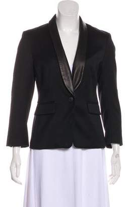 Rag & Bone Leather-Trimmed Long Sleeve Blazer