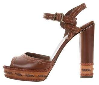 Brian Atwood Ankle Strap Leather Sandals