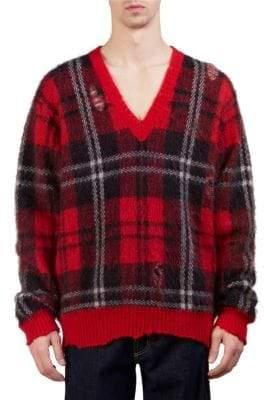 Alexander McQueen Tartan Mohair Oversize Sweater