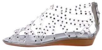 Stuart Weitzman Embellished Caged Sandals