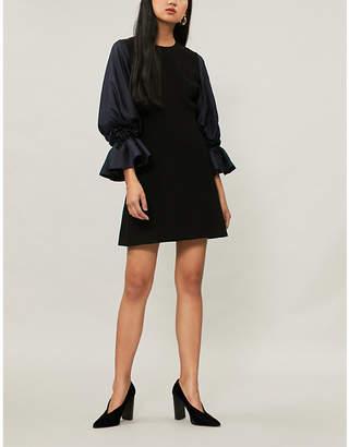 Roksanda Bell-sleeved stretch-cady and silk-satin dress