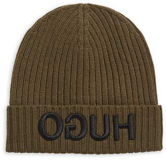 HUGO Ribbed Embroidered Logo Beanie