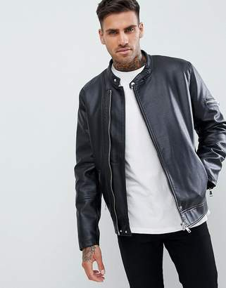Asos DESIGN faux leather racing biker jacket