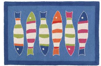 Kate Nelligan Picket Fish Blue Hooked Area Rug
