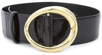 Oscar de la Renta Black Small Oval Alligator Waist Belt