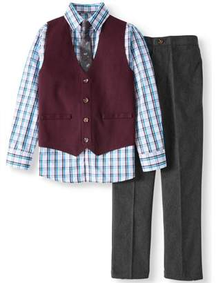 Wonder Nation Windsor Wine Maroon Twill Dressy Vest with Plaid Shirt, Twill Pants & Clip on Tie, 4-Piece Outfit Set (Little Boys & Big Boys)