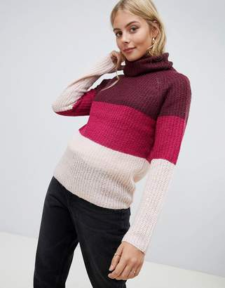 Brave Soul Roll Neck Sweater in Block Stripe