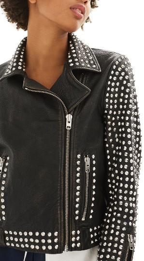TopshopWomen's Topshop Frazey Stud Biker Leather Jacket