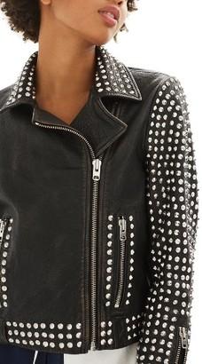 Women's Topshop Frazey Stud Biker Leather Jacket $420 thestylecure.com