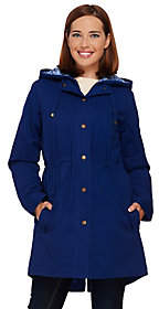 Denim & Co. Zip Front Parka with Pattern HoodDetail