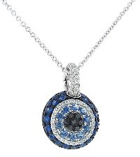 Pippo Perez Small Evil Eye Pendant in White Gold with Diamonds and Blue Sapphires