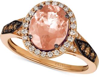 LeVian Le Vian Chocolatier Peach Morganite (1-3/4 ct. t.w.) & Diamond (3/8 ct. t.w.) Ring in 14k Rose Gold