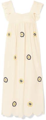 ALEXACHUNG Embroidered Cotton Maxi Dress - Neutral