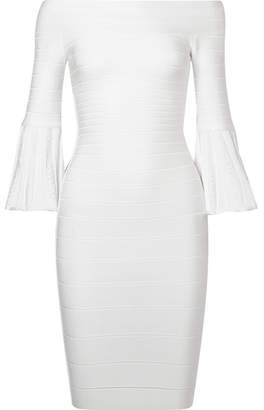 Herve Leger Off-the-shoulder Bandage Mini Dress - White