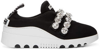 Miu Miu Black Double Band Crystal Knit Sneakers