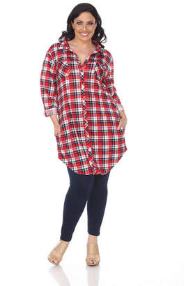 WHITE MARK White Mark Piper Plaid Tunic Top-Plus