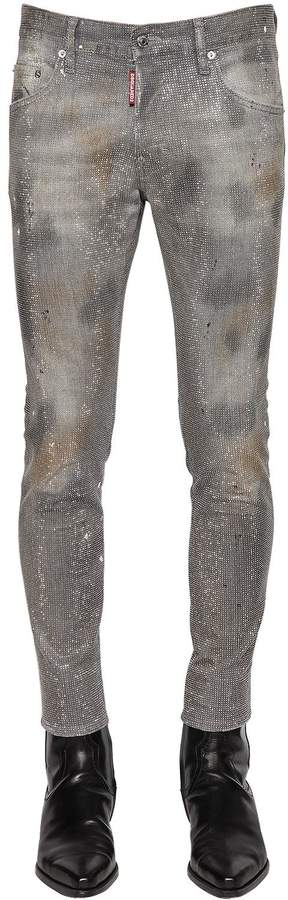 DSQUARED2 16cm Skater Sparkling Denim Jeans