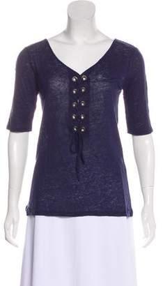 Calypso Linen Lace-Up T-Shirt