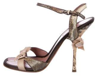 Alaia Lizard Ankle-Strap Sandals