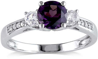 JCPenney FINE JEWELRY Lab-Created Alexandrite, White Sapphire and Diamond-Accent 10K White Gold Ring