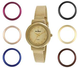 Peugeot Women's Slim All Gold Stainless Steel Mesh Bracelet 7 Bezel Interchangeable Watch Gift Set 642G