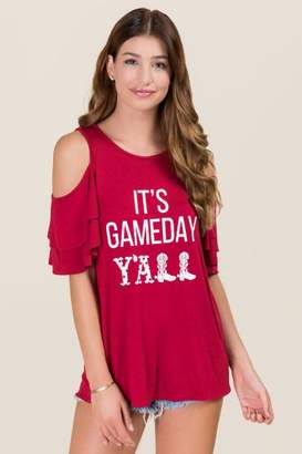 Sweet Claire Inc. It's Gameday Y'all Double Ruffle Graphic Tee - Red