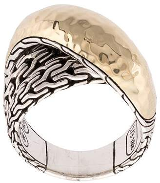 John Hardy 18kt yellow gold and sterling silver Classic Chain hammered overlap ring
