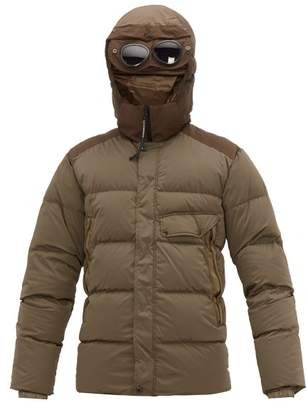 C.P. Company Goggle Hood Down Filled Technical Hooded Jacket - Mens - Green